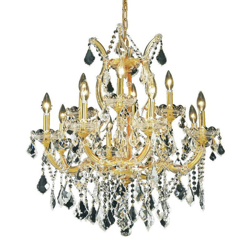 Elegant Lighting Maria Theresa 13 Light Gold Chandelier Clear Elegant Cut Crystal (2800D27G/EC)
