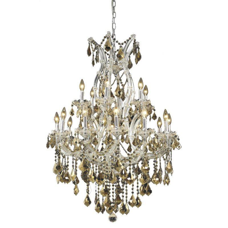 Elegant Lighting Maria Theresa 19 Light Chrome Chandelier Golden Teak (Smoky) Royal Cut Crystal (2800D32C-GT/RC)