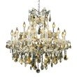 Elegant Lighting Maria Theresa 19 Light Chrome Chandelier Golden Teak (Smoky) Swarovski Elements Crystal (2800D30C-GT/SS)