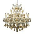 Elegant Lighting Maria Theresa 19 Light Chrome Chandelier Golden Teak (Smoky) Swarovski Elements Crystal (2801D30C-GT/SS)