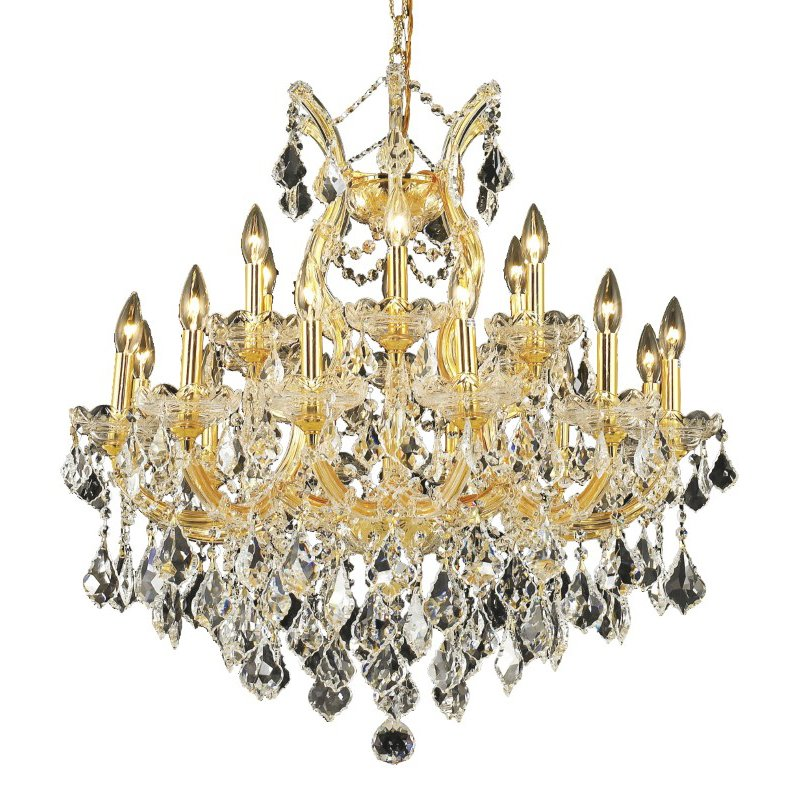 Elegant Lighting Maria Theresa 19 Light Gold Chandelier Clear Royal Cut Crystal (2800D30G/RC)