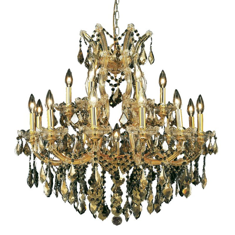 Elegant Lighting Maria Theresa 19 Light Gold Chandelier Golden Teak (Smoky) Royal Cut Crystal (2800D30G-GT/RC)