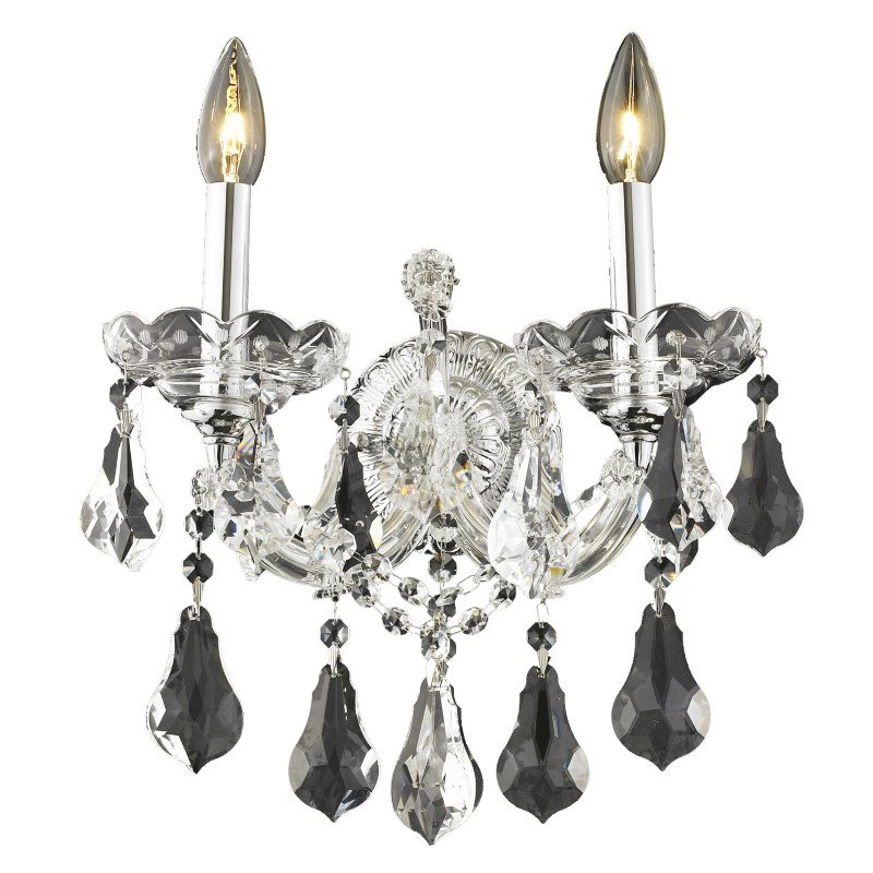 Elegant Lighting Maria Theresa 2 Light Chrome Wall Sconce Clear Swarovski Elements Crystal (2801W2C/SS)