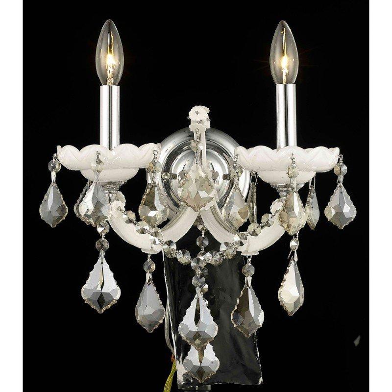 Elegant Lighting Maria Theresa 2 Light white Wall Sconce Golden Teak (Smoky) Royal Cut Crystal (2800W2WH-GT/RC)