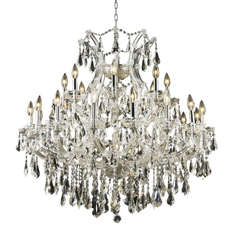 Elegant Lighting Maria Theresa 24 Light Chrome Chandelier Clear Royal Cut Crystal (2801D36C/RC)