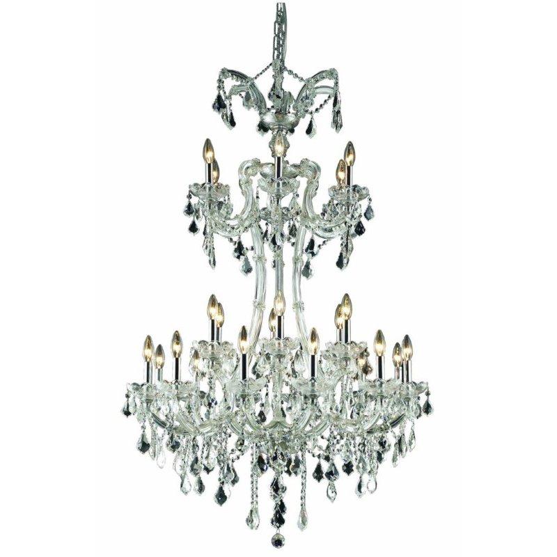Elegant Lighting Maria Theresa 24 Light Chrome Chandelier Clear Spectra Swarovski Crystal (2800G32C/SA)