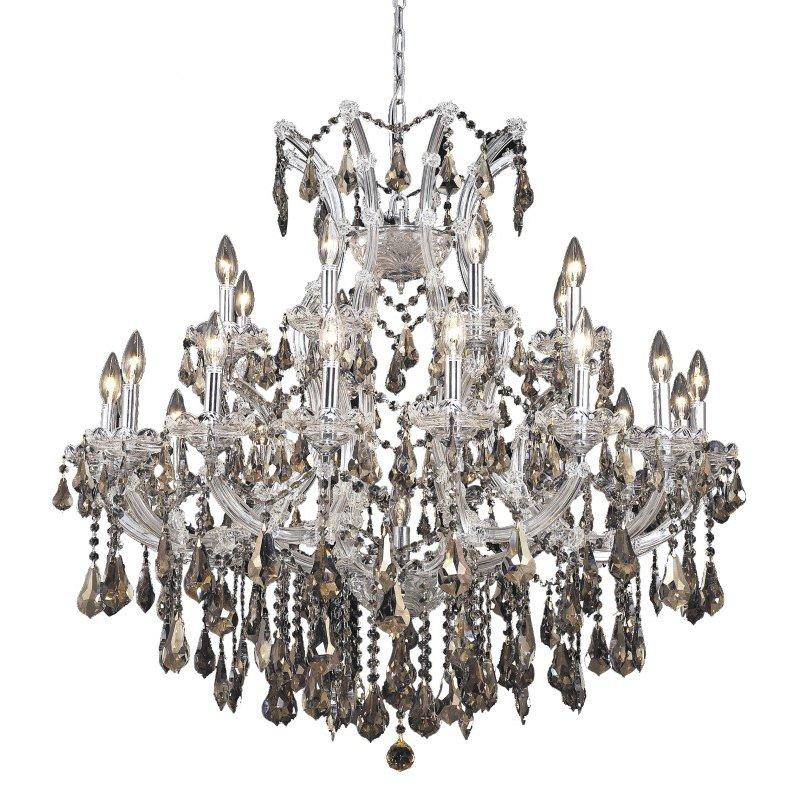 Elegant Lighting Maria Theresa 24 Light Chrome Chandelier Golden Teak (Smoky) Royal Cut Crystal (2801D36C-GT/RC)