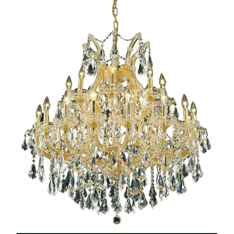 Elegant Lighting Maria Theresa 24 Light Gold Chandelier Clear Royal Cut Crystal (2801D36G/RC)