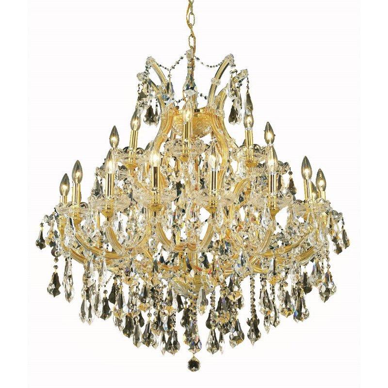 Elegant Lighting Maria Theresa 24 Light Gold Chandelier Golden Teak (Smoky) Swarovski Elements Crystal (2801D36G-GT/SS)