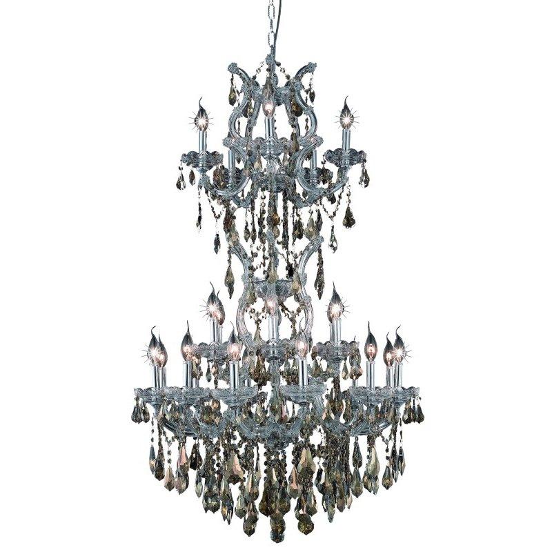 Elegant Lighting Maria Theresa 25 Light Chrome Chandelier Golden Teak (Smoky) Royal Cut Crystal (2801D30SC-GT/RC)