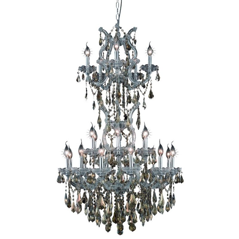 Elegant Lighting Maria Theresa 25 Light Chrome Chandelier Golden Teak (Smoky) Swarovski Elements Crystal (2801D30SC-GT/SS)
