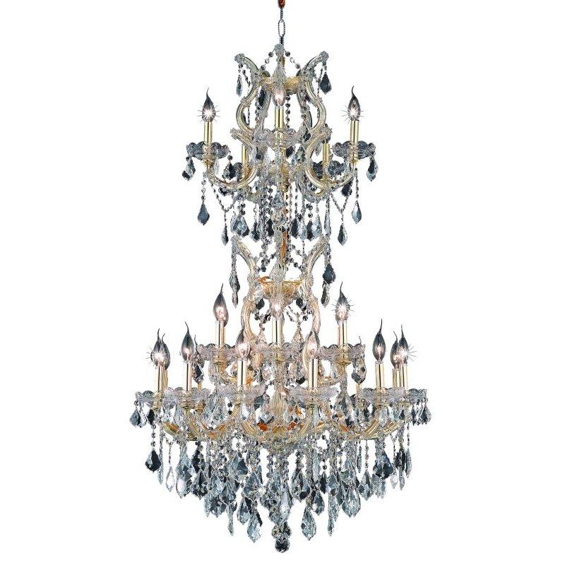 Elegant Lighting Maria Theresa 25 Light Gold Chandelier Clear Spectra Swarovski Crystal (2800D30SG/SA)