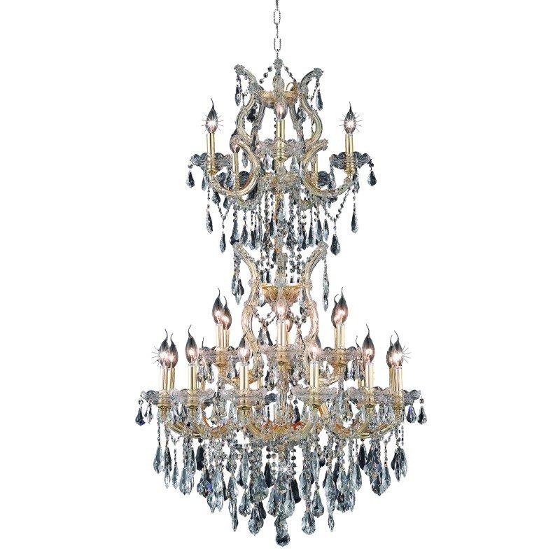 Elegant Lighting Maria Theresa 25 Light Gold Chandelier Clear Swarovski Elements Crystal (2801D30SG/SS)
