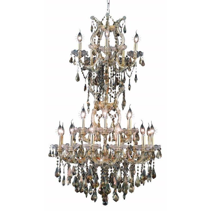 Elegant Lighting Maria Theresa 25 Light Gold Chandelier Golden Teak (Smoky) Royal Cut Crystal (2801D30SG-GT/RC)