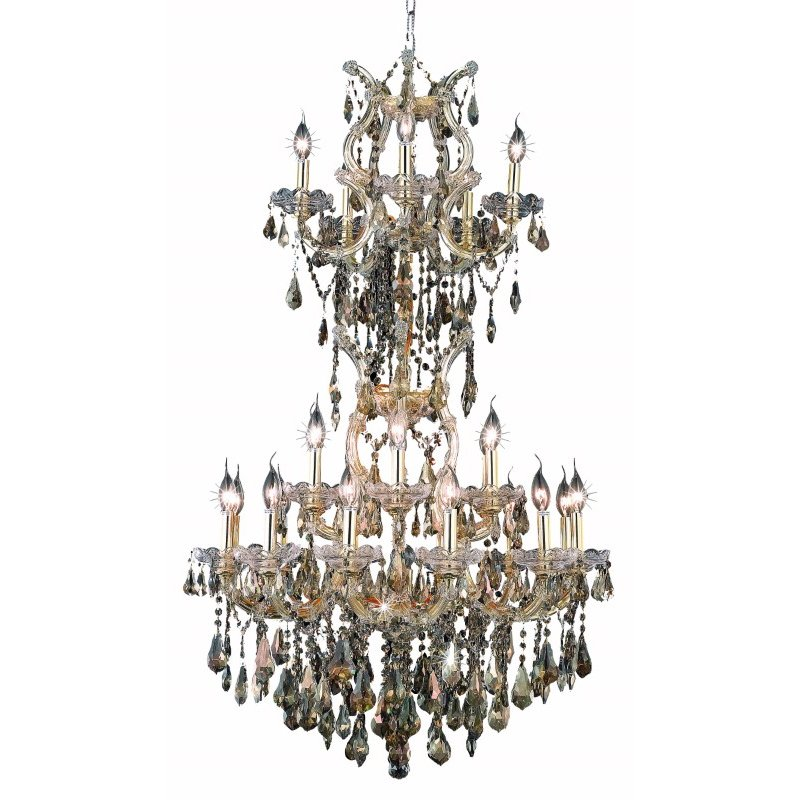 Elegant Lighting Maria Theresa 25 Light Gold Chandelier Golden Teak (Smoky) Swarovski Elements Crystal (2801D30SG-GT/SS)