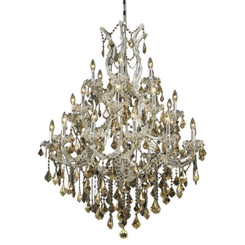 Elegant Lighting Maria Theresa 28 Light Chrome Chandelier Golden Teak (Smoky) Swarovski Elements Crystal (2800D38C-GT/SS)