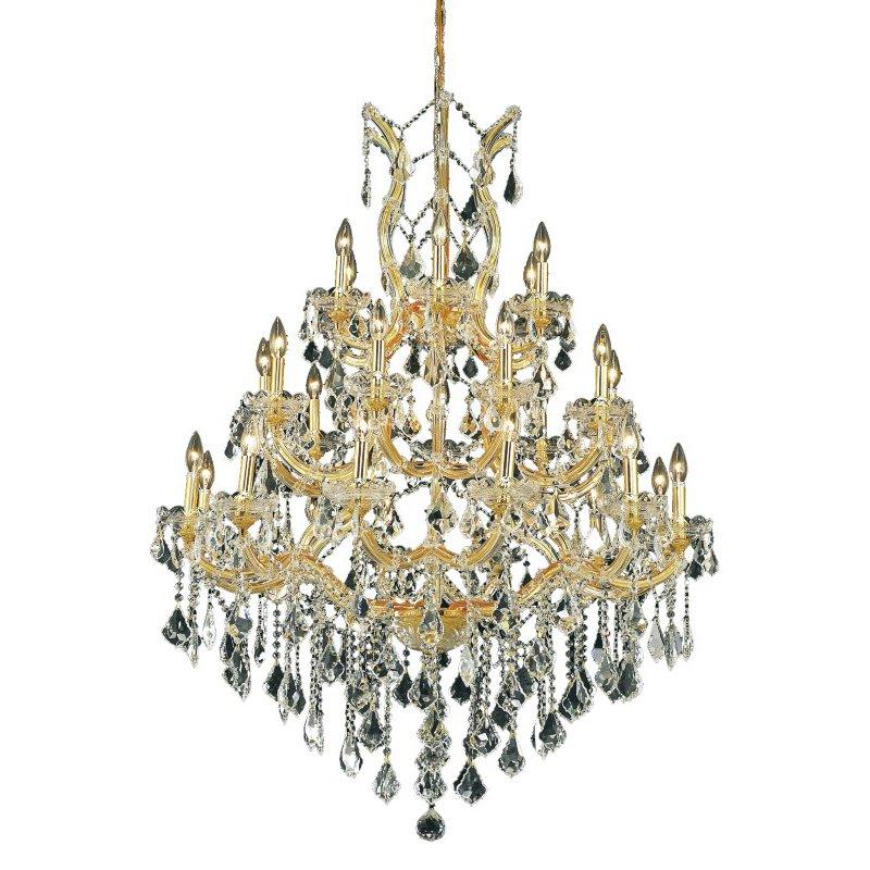Elegant Lighting Maria Theresa 28 Light Gold Chandelier Clear Swarovski Elements Crystal (2800D38G/SS)
