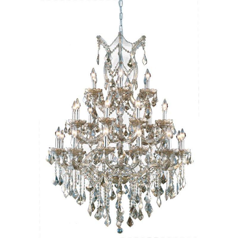 Elegant Lighting Maria Theresa 28 Light Golden Teak Chandelier Golden Teak (Smoky) Royal Cut Crystal (2800D38GT-GT/RC)