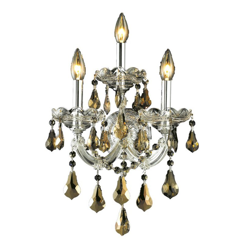Elegant Lighting Maria Theresa 3 Light Chrome Wall Sconce Golden Teak (Smoky) Royal Cut Crystal (2801W3C-GT/RC)