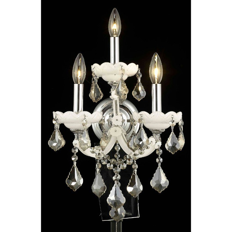 Elegant Lighting Maria Theresa 3 Light white Wall Sconce Golden Teak (Smoky) Swarovski Elements Crystal (2800W3WH-GT/SS)