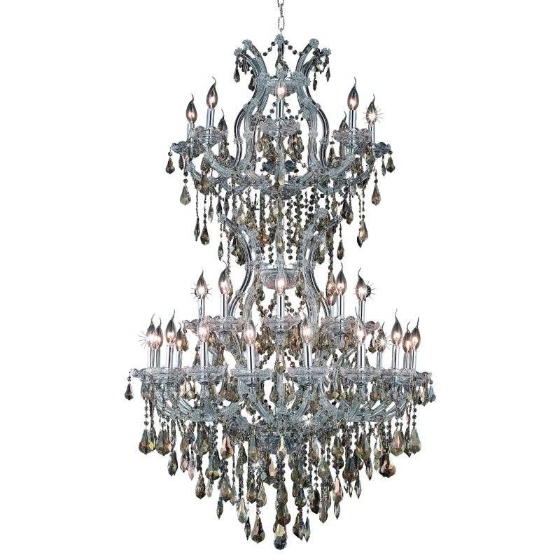 Elegant Lighting Maria Theresa 34 Light Chrome Chandelier Golden Teak (Smoky) Royal Cut Crystal (2801D36SC-GT/RC)