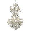 Elegant Lighting Maria Theresa 34 Light white Chandelier Golden Teak (Smoky) Royal Cut Crystal (2800D36SWH-GT/RC)