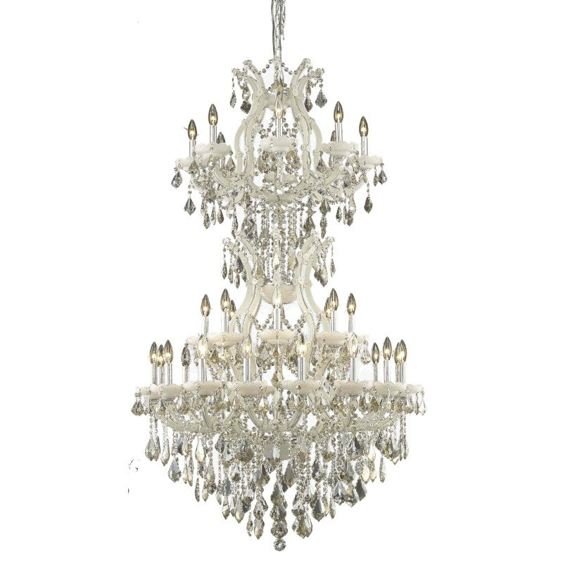 Elegant Lighting Maria Theresa 34 Light white Chandelier Golden Teak (Smoky) Swarovski Elements Crystal (2800D36SWH-GT/SS)