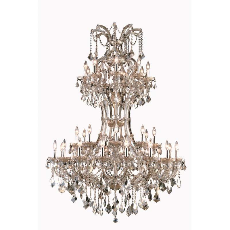 Elegant Lighting Maria Theresa 36 Light Golden Teak Chandelier Golden Teak (Smoky) Royal Cut Crystal (2800D46GT-GT/RC)
