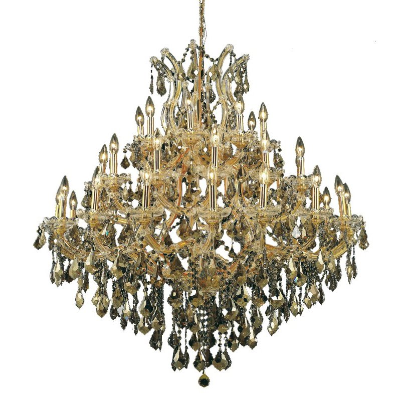 Elegant Lighting Maria Theresa 37 Light Gold Chandelier Golden Teak (Smoky) Royal Cut Crystal (2800G44G-GT/RC)