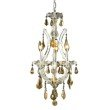 Elegant Lighting Maria Theresa 4 Light Chrome Chandelier Golden Teak (Smoky) Royal Cut Crystal (2801D12C-GT/RC)