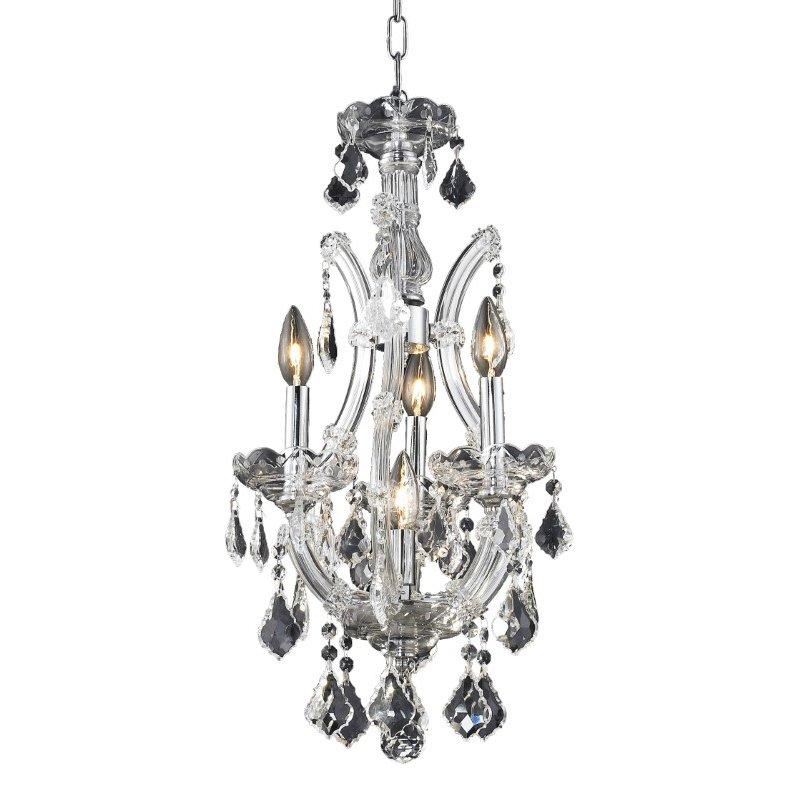 Elegant Lighting Maria Theresa 4 Light Chrome Pendant Clear Elegant Cut Crystal (2800D12C/EC)