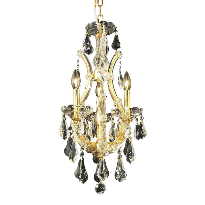 Elegant Lighting Maria Theresa 4 Light Gold Chandelier Clear Swarovski Elements Crystal (2801D12G/SS)