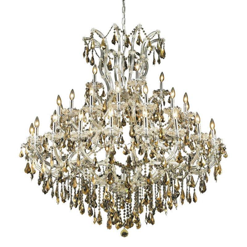 Elegant Lighting Maria Theresa 41 Light Chrome Chandelier Golden Teak (Smoky) Swarovski Elements Crystal (2801G52C-GT/SS)