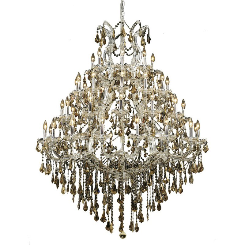 Elegant Lighting Maria Theresa 49 Light Chrome Chandelier Golden Teak (Smoky) Royal Cut Crystal (2801G46C-GT/RC)