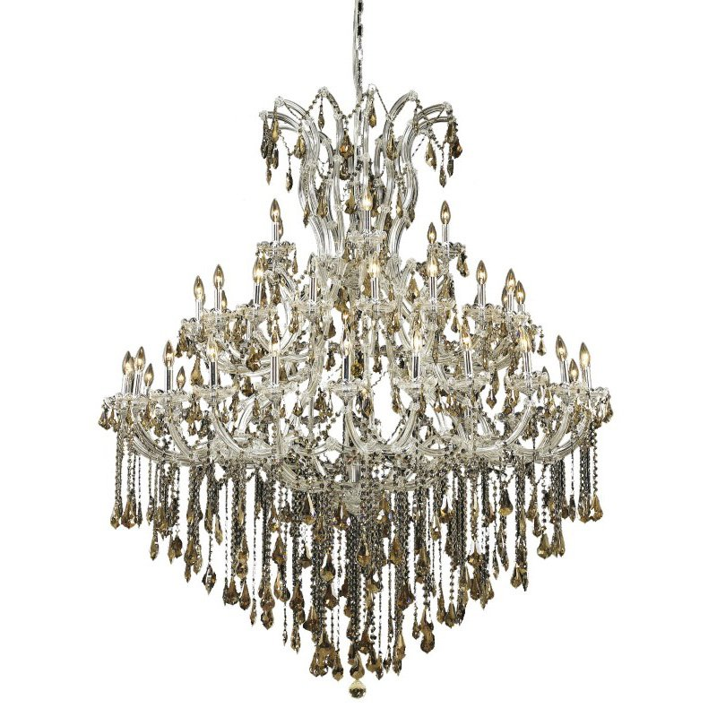 Elegant Lighting Maria Theresa 49 Light Chrome Chandelier Golden Teak (Smoky) Royal Cut Crystal (2801G60C-GT/RC)
