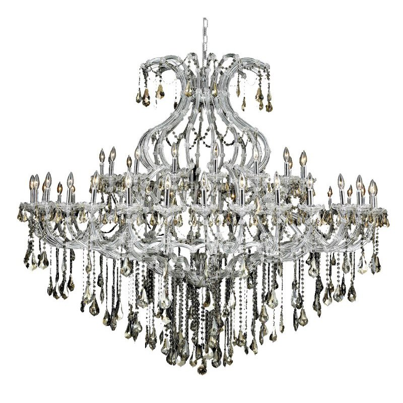 Elegant Lighting Maria Theresa 49 Light Chrome Chandelier Golden Teak (Smoky) Royal Cut Crystal (2801G72C-GT/RC)