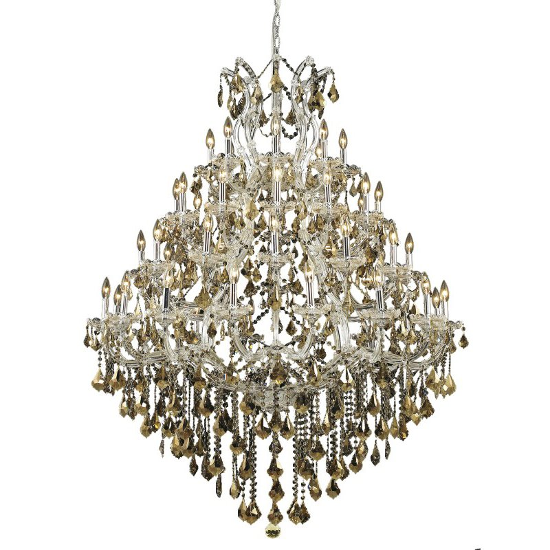 Elegant Lighting Maria Theresa 49 Light Chrome Chandelier Golden Teak (Smoky) Swarovski Elements Crystal (2800G46C-GT/SS)