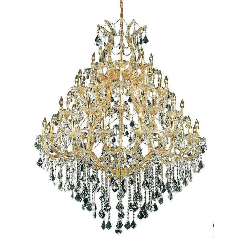 Elegant Lighting Maria Theresa 49 Light Gold Chandelier Clear Elegant Cut Crystal (2800G46G/EC)