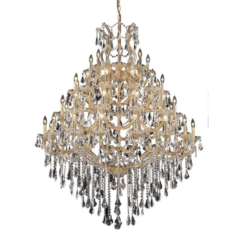 Elegant Lighting Maria Theresa 49 Light Gold Chandelier Clear Royal Cut Crystal (2801G46G/RC)