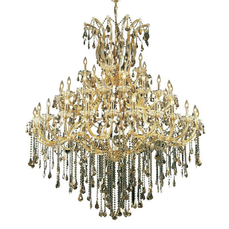 Elegant Lighting Maria Theresa 49 Light Gold Chandelier Golden Teak (Smoky) Royal Cut Crystal (2801G60G-GT/RC)