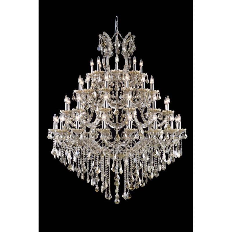 Elegant Lighting Maria Theresa 49 Light Golden Teak Chandelier Golden Teak (Smoky) Royal Cut Crystal (2800G46GT-GT/RC)