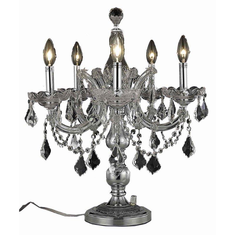Elegant Lighting Maria Theresa 5 Light Chrome Table Lamp Clear Royal Cut Crystal (2800TL19C/RC)