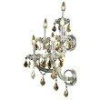 Elegant Lighting Maria Theresa 5 Light Chrome Wall Sconce Golden Teak (Smoky) Royal Cut Crystal (2800W5C-GT/RC)