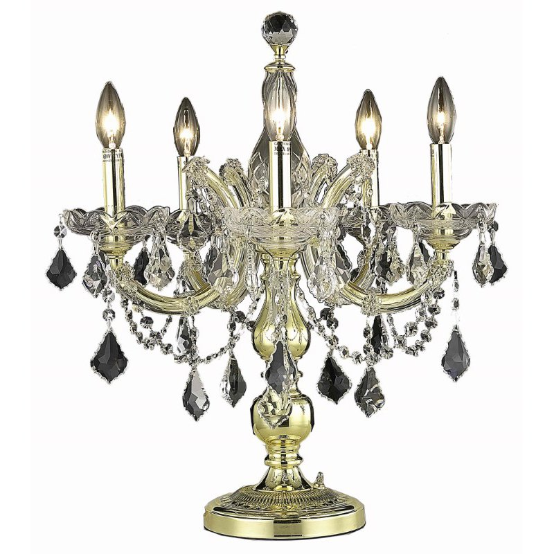 Elegant Lighting Maria Theresa 5 Light Gold Table Lamp Clear Royal Cut Crystal (2800TL19G/RC)