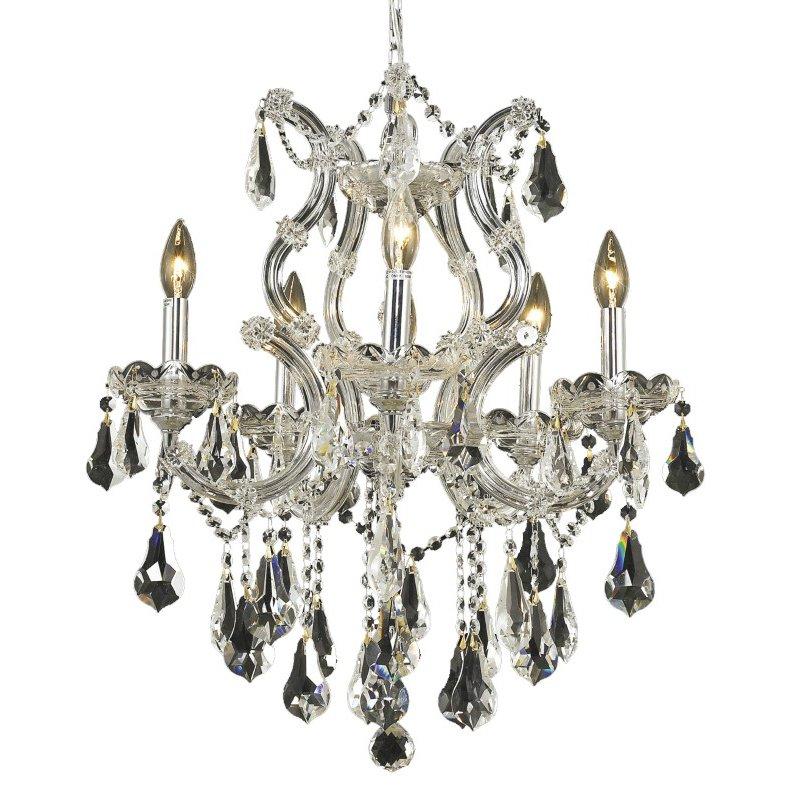 Elegant Lighting Maria Theresa 6 Light Chrome Chandelier Clear Swarovski Elements Crystal (2801D20C/SS)