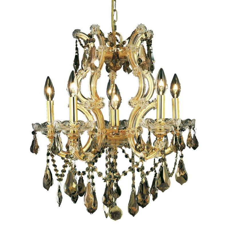 Elegant Lighting Maria Theresa 6 Light Gold Chandelier Golden Teak (Smoky) Royal Cut Crystal (2801D20G-GT/RC)
