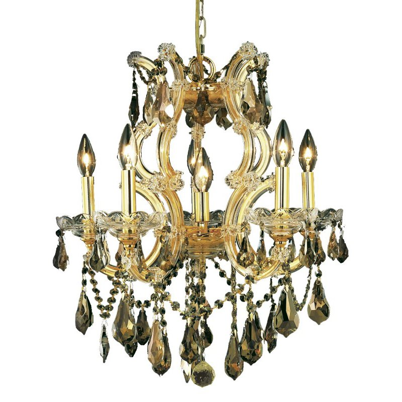 Elegant Lighting Maria Theresa 6 Light Gold Chandelier Golden Teak (Smoky) Swarovski Elements Crystal (2801D20G-GT/SS)