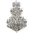 Elegant Lighting Maria Theresa 61 Light Chrome Chandelier Golden Teak (Smoky) Swarovski Elements Crystal (2801G54C-GT/SS)