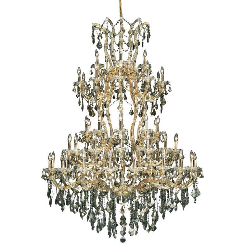 Elegant Lighting Maria Theresa 61 Light Gold Chandelier Golden Teak (Smoky) Swarovski Elements Crystal (2800G54G-GT/SS)