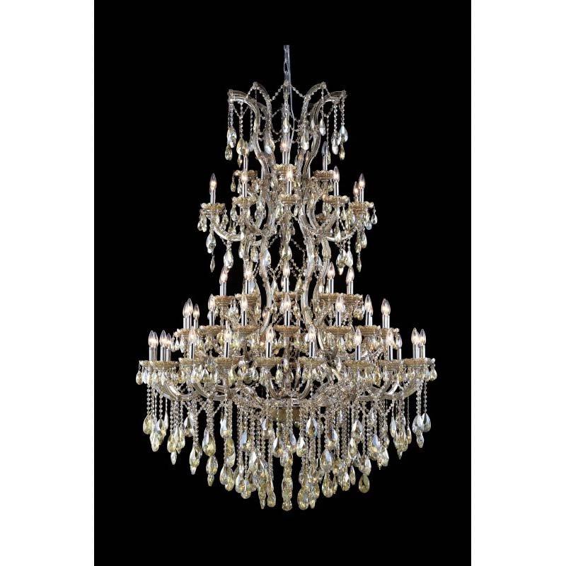 Elegant Lighting Maria Theresa 61 Light Golden Teak Chandelier Golden Teak (Smoky) Royal Cut Crystal (2800G54GT-GT/RC)